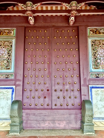 Red doors at the Confucius Temple in Tainan