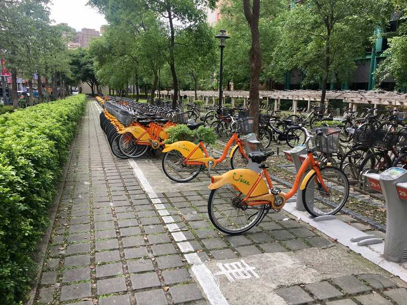 Youbike public bicycle rental to get around in Taipei Taiwan very easy