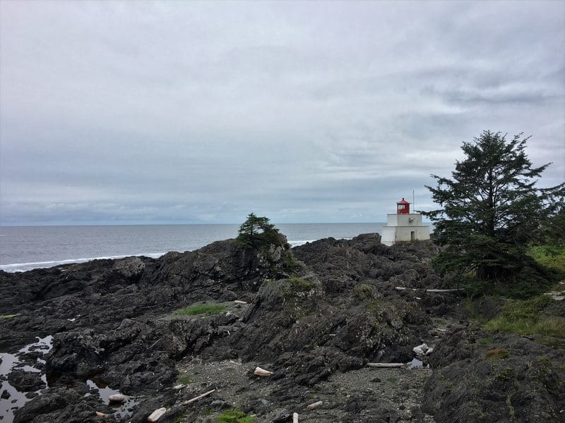 Pounding waves at the Amphitrite Point Lighthouse Wild Pacific Trail Vancouver Island