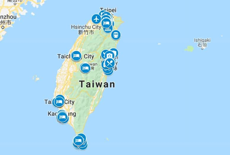 Taiwan itinerary map
