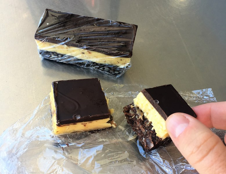 Nanaimo Bar with dark chocolate