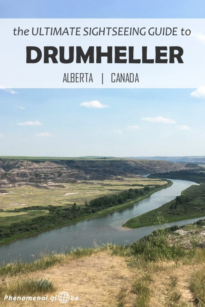 In this Drumheller sightseeing guide you'll find: Drumheller must-sees and highlights + where to find free campsites near Drumheller + how to get to Drumheller + a (printable) map with all the places mentioned in the post. Things to see and do on a trip to Drumheller: Horseshoe Canyon, World's Largest Dinosaur, the Royal Tyrrell Museum, drive the Dinosaur Trail and the Hoodoos Trail. #Drumheller #Alberta #Canada