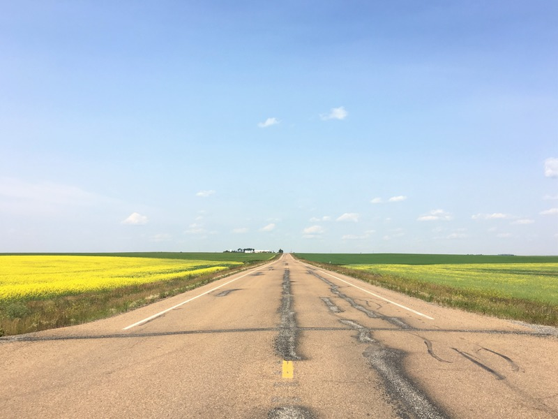 Empty road near Drumheller, Alberta