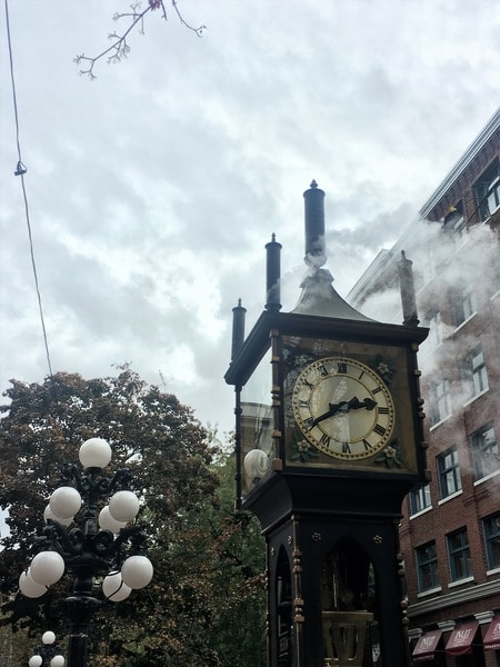 The steam clock in Gastown downtown Vancouver BC Canada