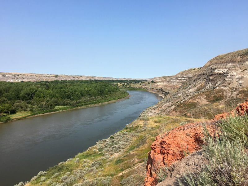 View over the Red Deer River - Hoodoo trail south of Drumheller - Star Mine Suspension Bridge