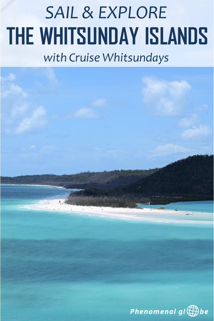 Sailing the Whitsunday Islands with Cruise Whitsundays is a dream come true: uninhabited islands, lush jungle, white-sand beaches & incredible views. The Whitsunday Islands are a National Park on the East Coast of Australia. Read how to spend a day on the water aboard the Camira catamaran. The program includes a visit to the Hill Inlet Lookout, Whitehaven Beach and snorkeling. Click through to read the whole post! #whitsundayislands #cruisewhitsundays #australia