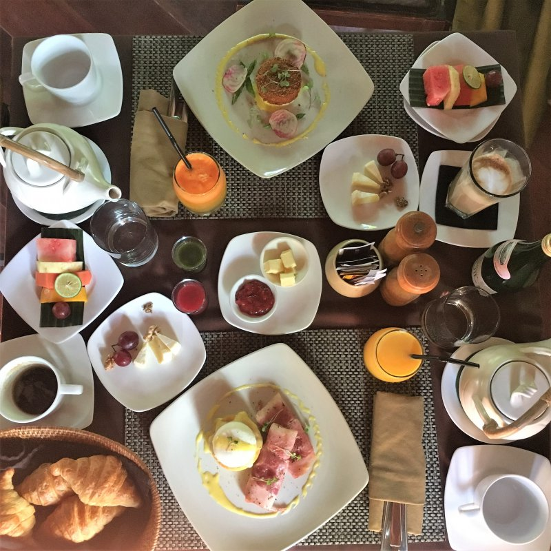 Sumptuous breakfast at the Jamahal Private Resort and Spa - choose between Continental and Asian