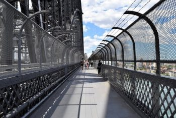 Crossing the Sydney Harbor Bridge on foot