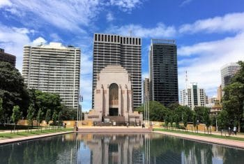 Hyde park and the AnZac memorial Sydney Australia