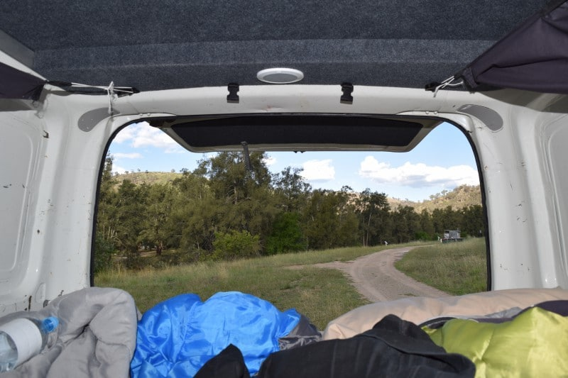 View from the back of a campervan in Australia