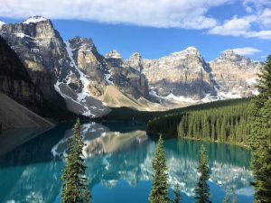 One of the most beautiful places I have ever been: Moraine Lake in Alberta, Canada