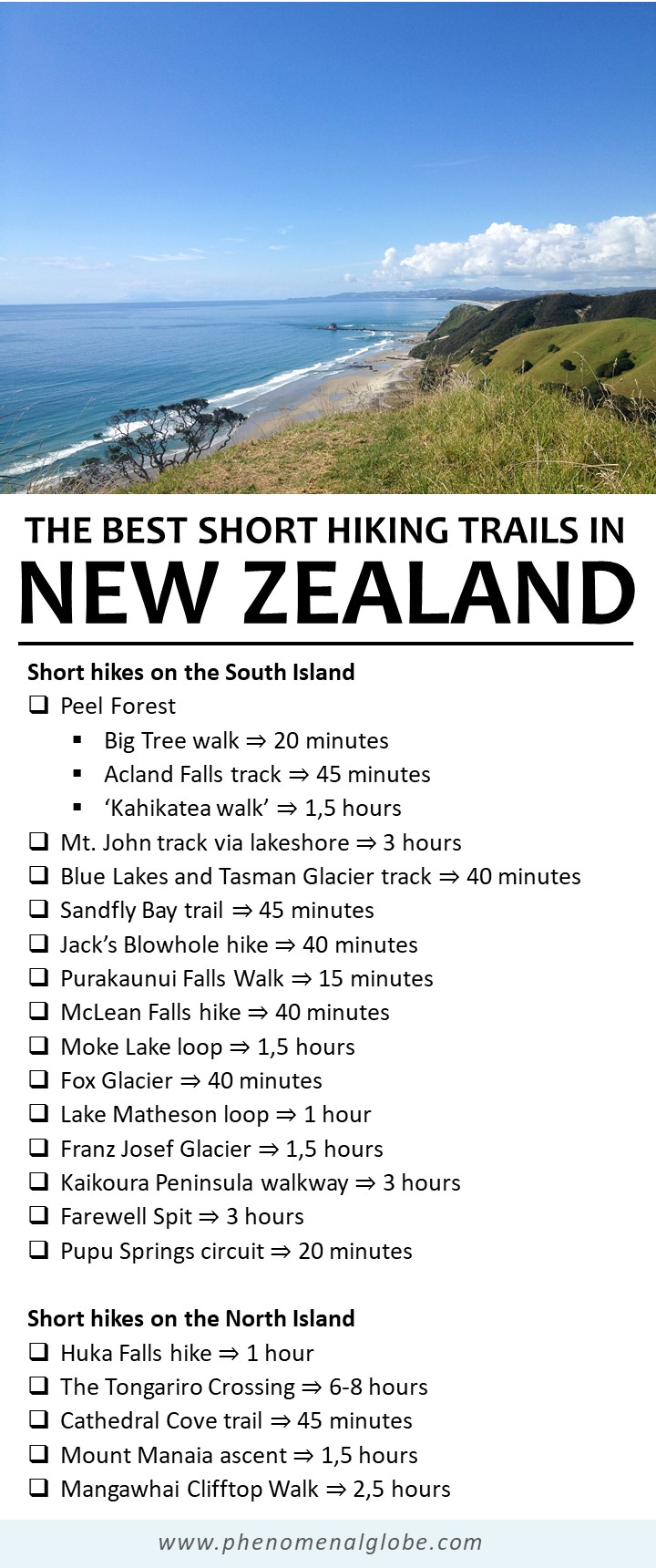 The best short hiking trails in New Zealand on the North and South Island. #NewZealand #Hiking #Tramping