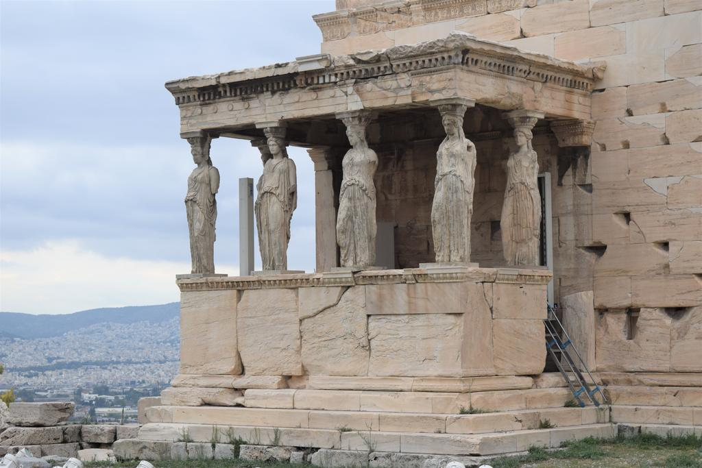 The Porch of the Caryatids - female statues supporting the Erechtheion