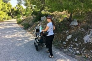 Walking on Agistri Island - Greece with a baby