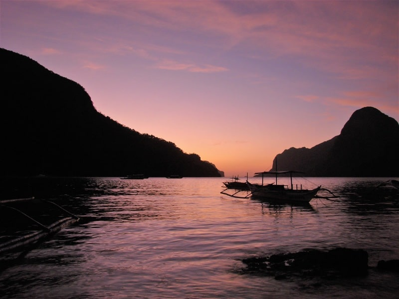 Beautiful sunset in El Nido