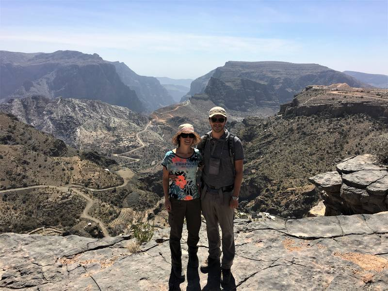 Hiking in the Jebel Akhdar mountains in Oman