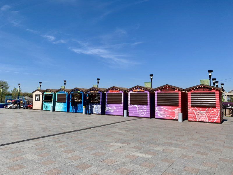 Colorful stalls in 130 Kvartal Irkutsk