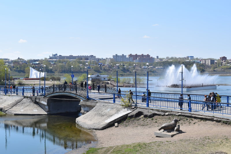 Fountain in the Angara river Irkutsk
