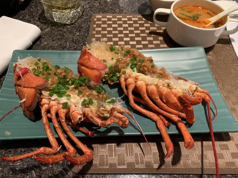 Garlic lobster at the Zhaolin Grand Hotel in Beijing