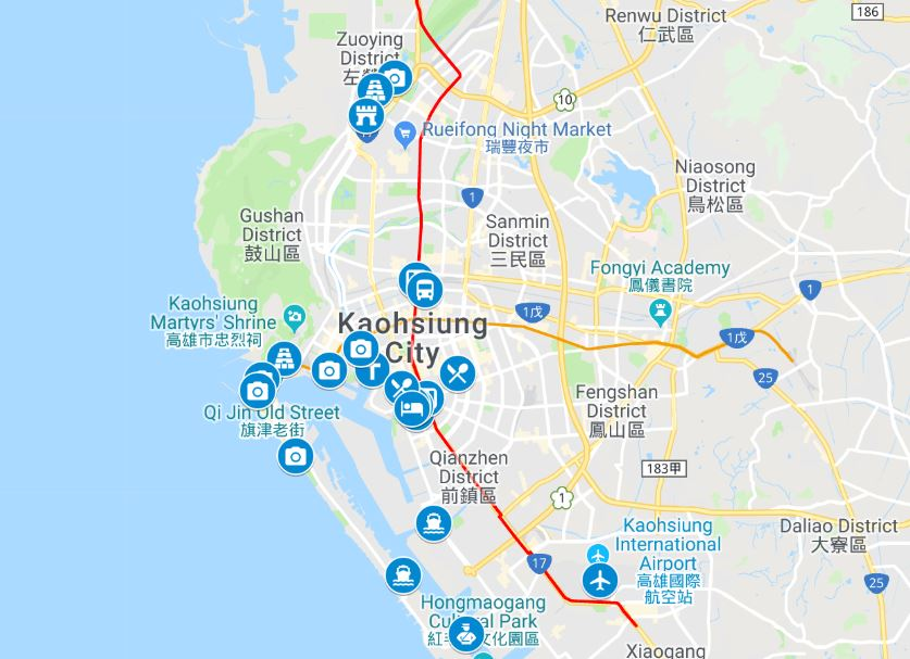 Kaohsiung itinerary map