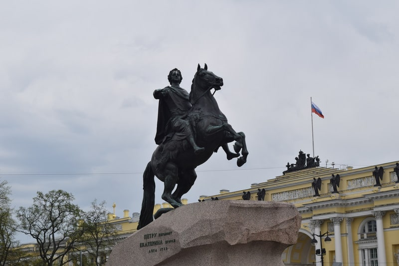 Peter the Great Monument on granite rock St. Petersburg