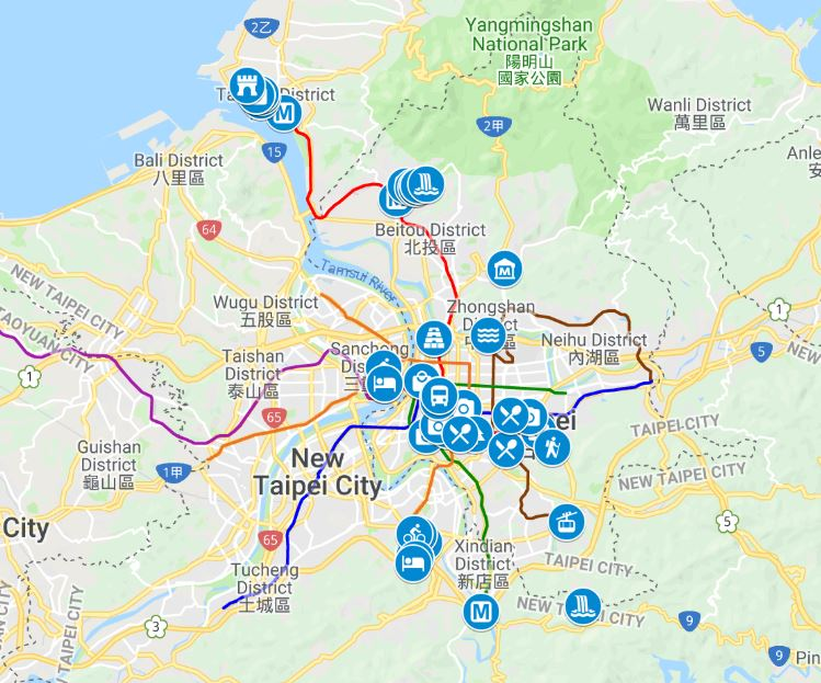 Taipei things to do map