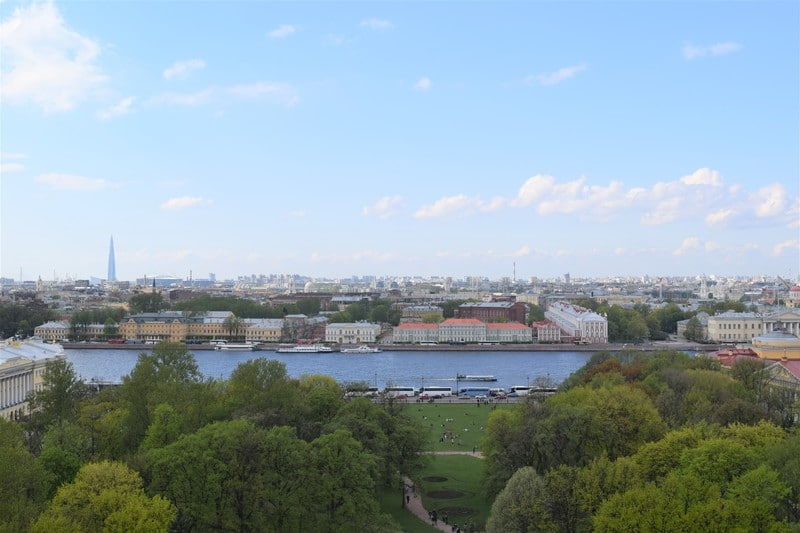 View from the colonnade of St. Isaac's Cathedral in St. Petersburg""