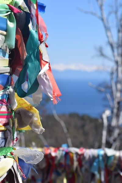 Viewpoint Lake Baikal prayer ribbons