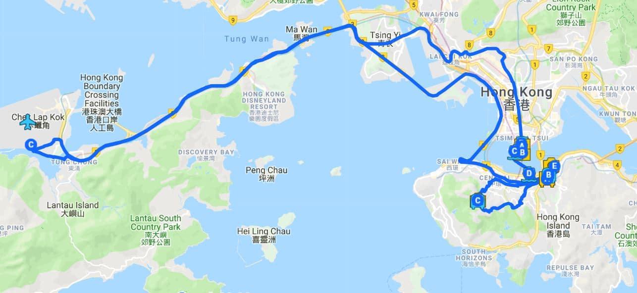 36 hours in Hong Kong map