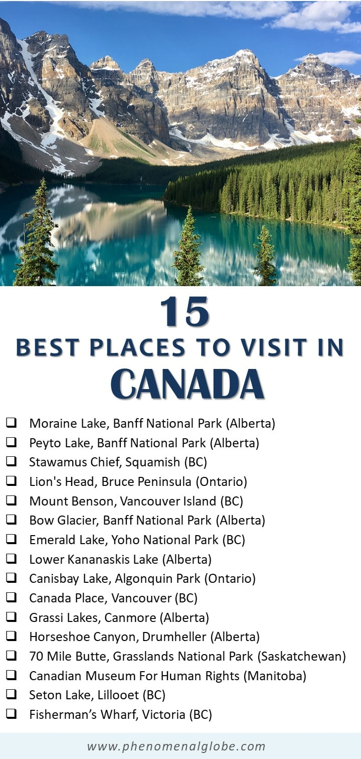 Check out 15 amazing places to visit in Canada! But be warned: this list and pretty pictures of the most beautiful places in Canada will have you packing your bags for Canada in no time! #Canada #BC #Alberta