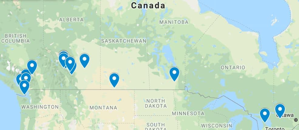 Best places to visit in Canada map