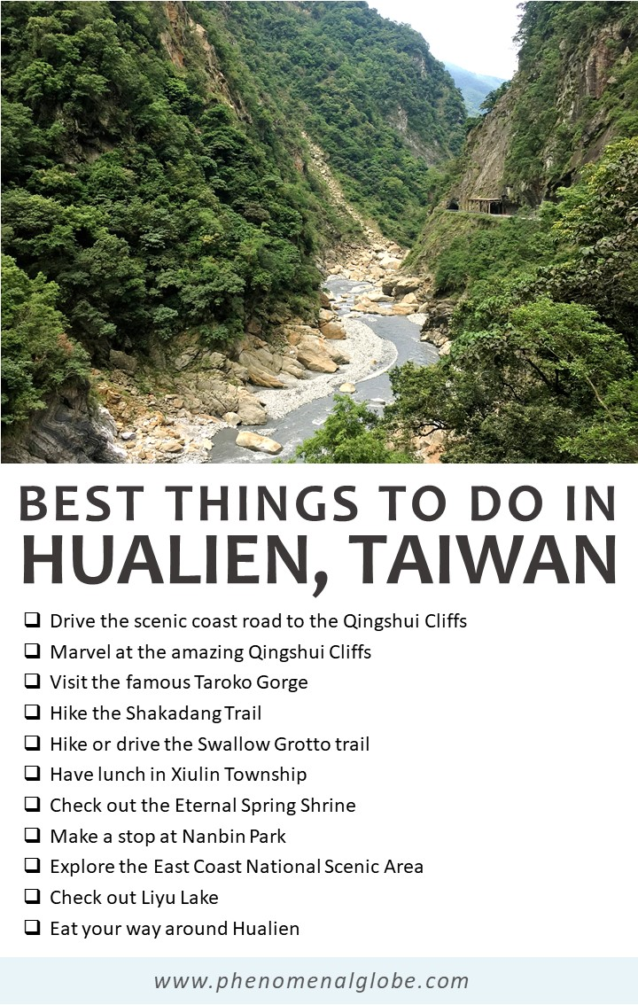 Read about the best things to do in Hualien and Taroko National Park, on the East Coast of Taiwan. Rent a scooter and follow this 3-day itinerary! Includes a map with Hualien highlights, travel budget, advice about accommodation and transport information (how to get from Taipei to Hualien and from Hualien to Taroko Gorge). #Hualien #TarokoGorge #Taiwan