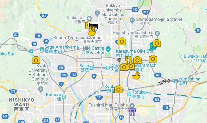 Kyoto itinerary map