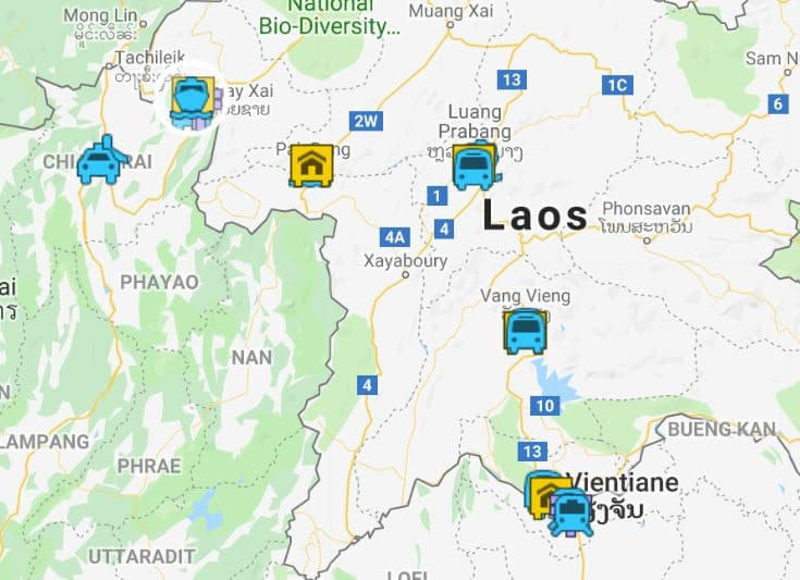 Laos map and itinerary