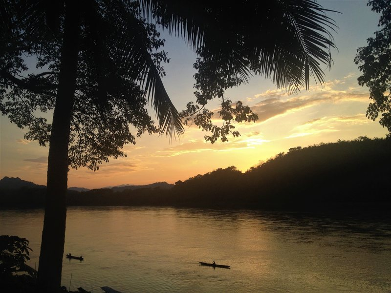 Sunset over the Mekong river in Luang Prabang Laos