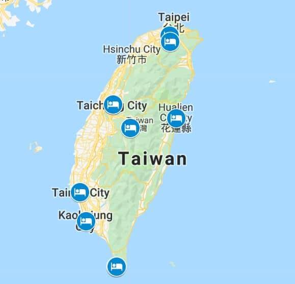 Taiwan budget hotels map