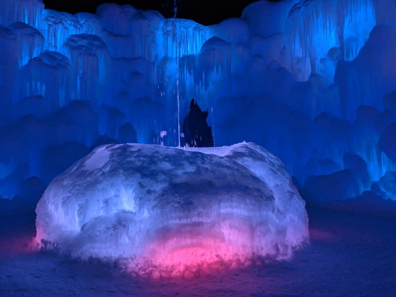 Ice Castles fountain Parenthood and Passports