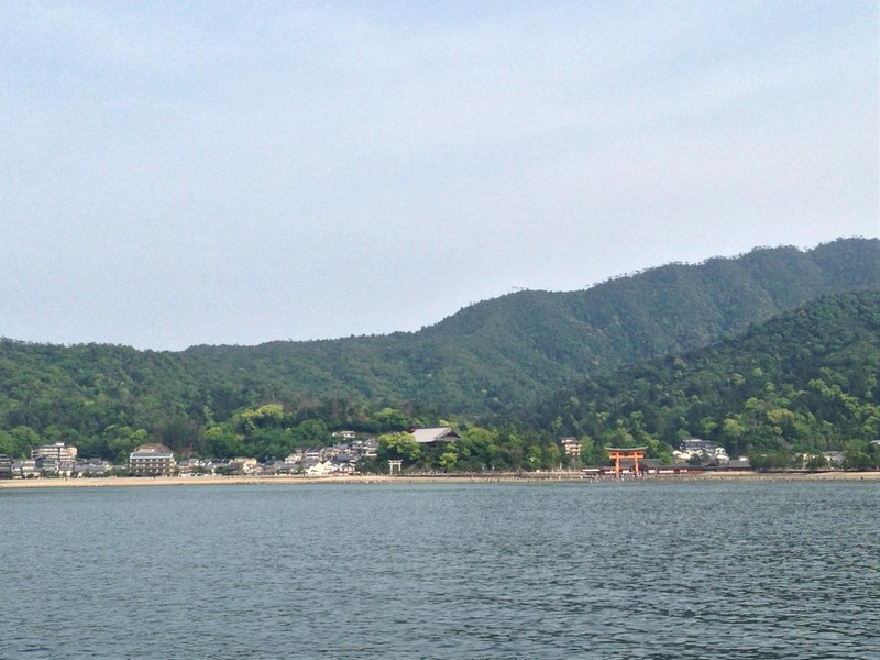 Miyajima Island and Itsukushima Shrine seen from JR Ferry