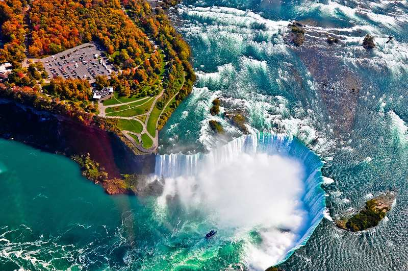 Niagara Falls in autumn colors from above