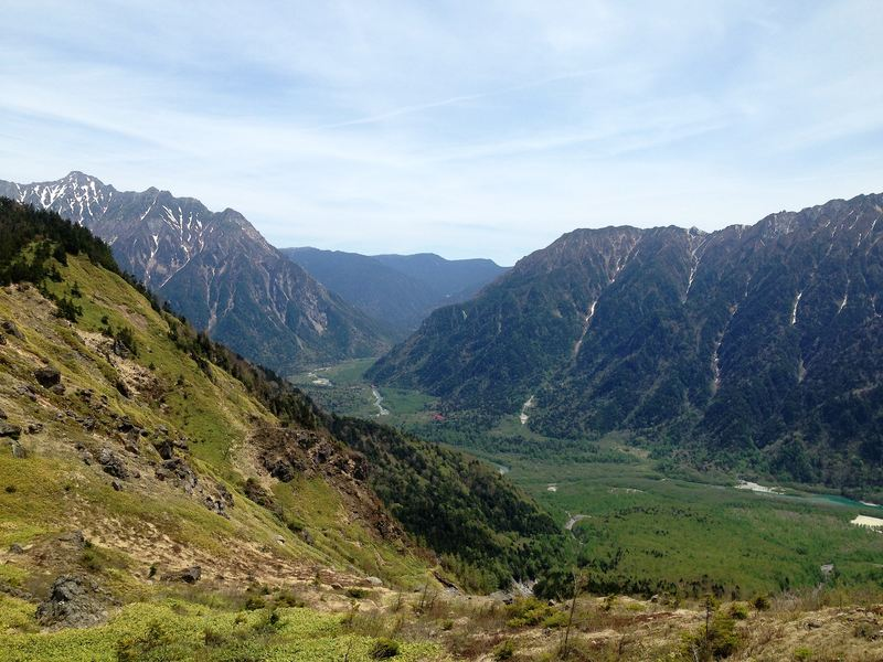 Overlooking Kamikochi Valley from Mount Yakedake Japan