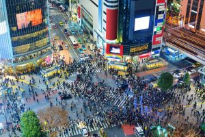 Shibuya crossing in Tokyo from above