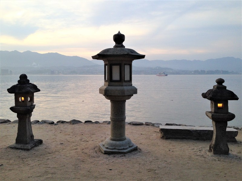 Stone lanterns on Miyajima Island