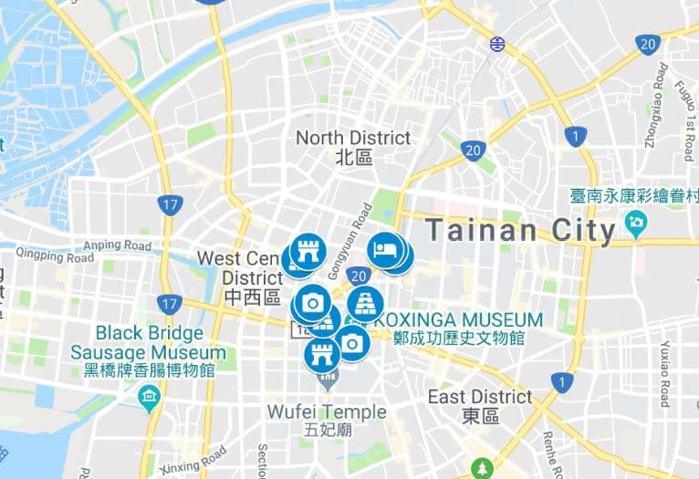 Things to do in Tainan map