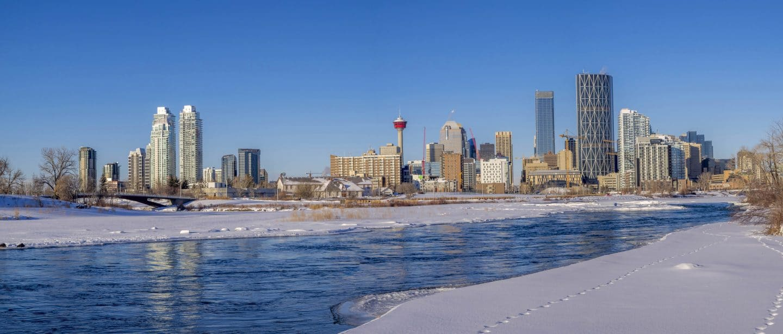 Calgary in winter skyline