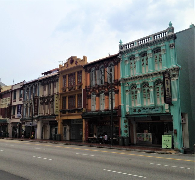 Colorful houses in Chinatown Singapore