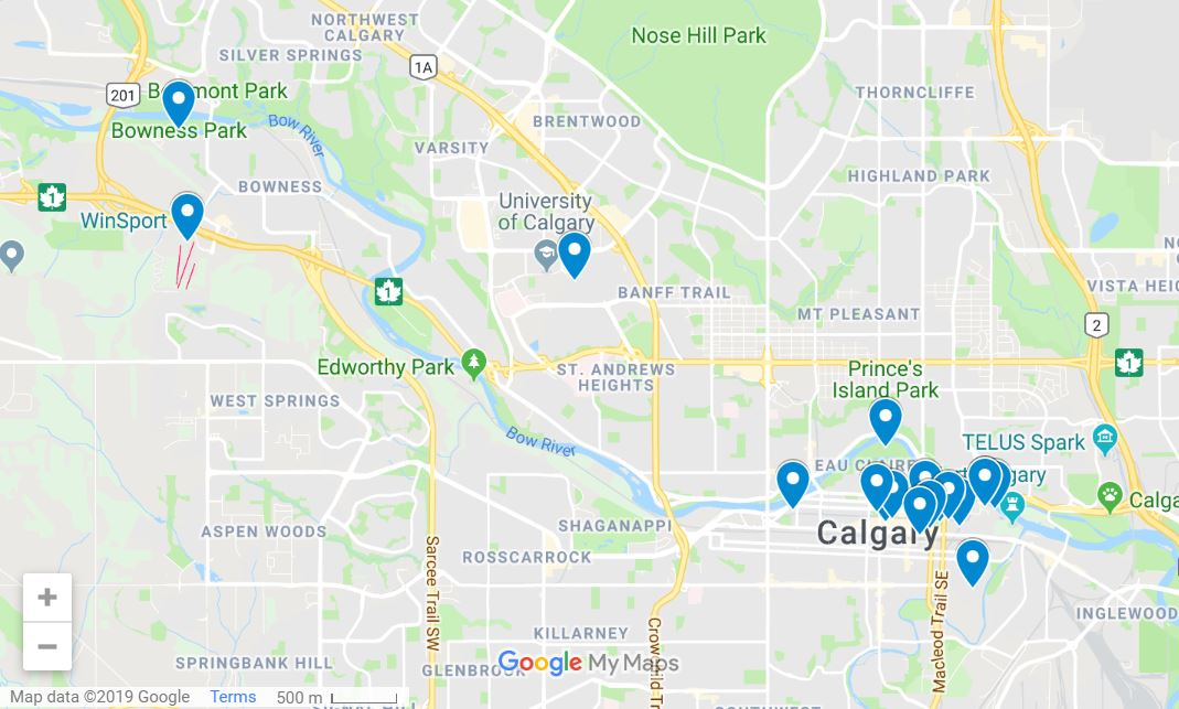 Things to do in Calgary in winter map