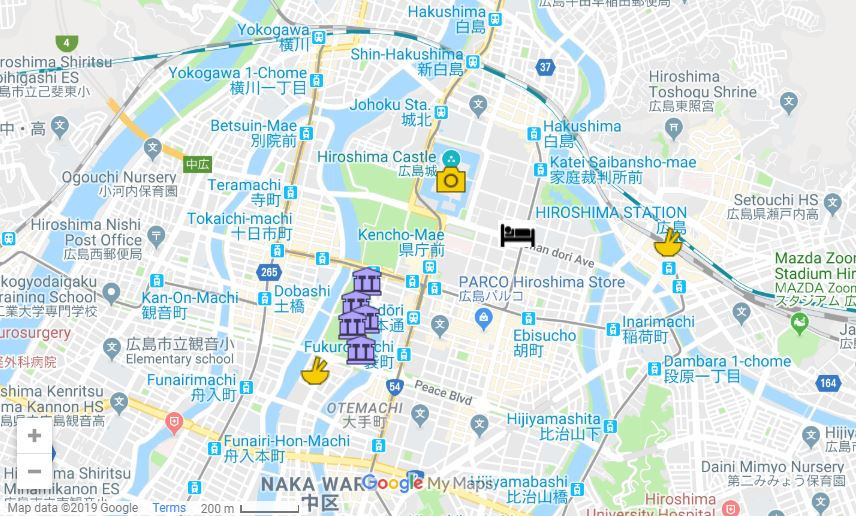 Hiroshima itinerary map