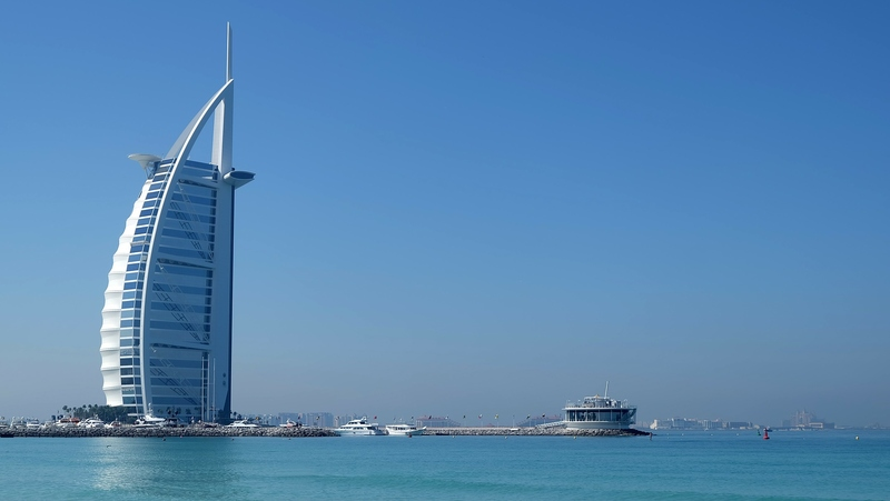 Dubai beach and Burj Al Arab