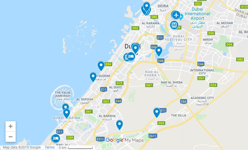 Map of Dubai itinerary