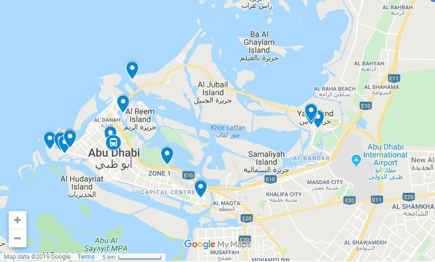 Abu Dhabi itinerary map